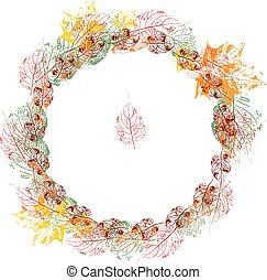 Round floral autumn wreath made of stamp leaves. Orange, red and yellow color. Object on white background.