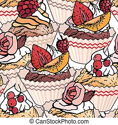 Seamless pattern with cupcakes and sweet desserts. Pastry,...