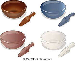 4 bowl and scoop vector