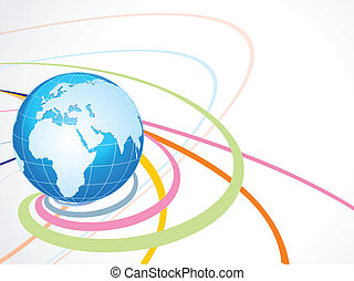 abstract wave background with globe vector illustration