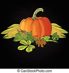 Seasonal background with pumpkins and corn - Seasonal...