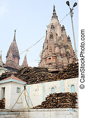 Temple on the Ghats of river Ganges - Varanasi, India - 28...