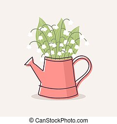 Lily of the Valley in Red Watering Can, Vector Illustration.