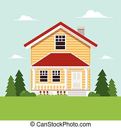 Residential House in Spring. Flat Design Style.