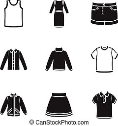 Clothes set icons in black style. Big collection of clothes...
