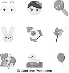 Toys set icons in monochrome style. Big collection of toys vector symbol stock illustration