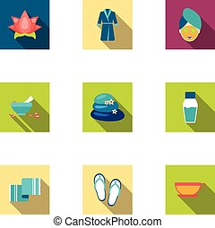 Spa set icons in flat style. Big collection of spa vector...