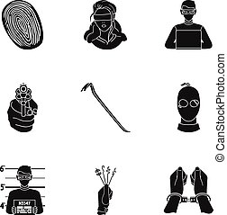 Crime set icons in black style. Big collection of crime...