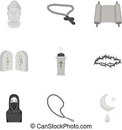Religion set icons in monochrome style. Big collection of religion vector symbol stock illustration