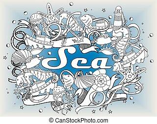 Sea line art design vector illustration - Sea coloring book...