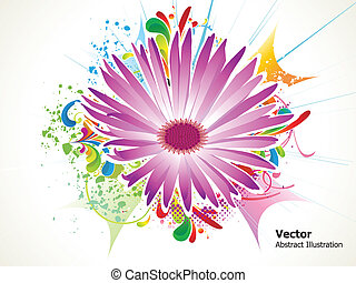 abstract colorful detailed flower with grunge vector...