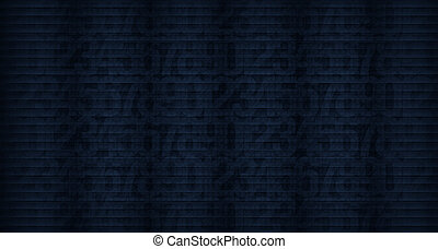 Abstract dark blue background with the image of numbers to...
