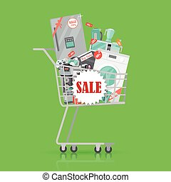 Super Sale Banner. Household Appliances in Trolley - Super...