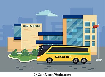 High School Building with Yellow Bus Illustration - High...