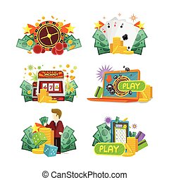 Casino Gambling Icons Set - Casino, slot machines, dice,...