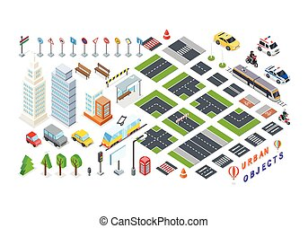 Set of City 3d Elements for Map - Isometric part of the city...
