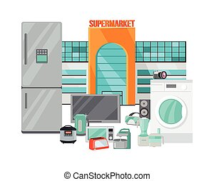 Supermarket Sale. Household Appliances Flat Style -...
