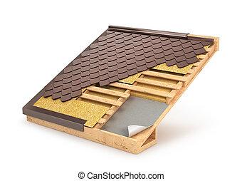 Building system roof, tile, design & installation, 3D...