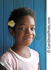 ragazza,  fijian, giovane, Indigeno