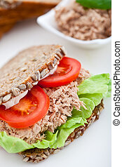 Tuna fish sandwich with tomatos and lettuce - Tuna fish...
