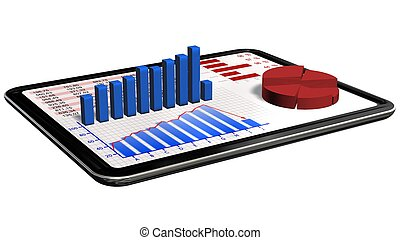 Graphs and chart on tablet pc - Business statistic concept