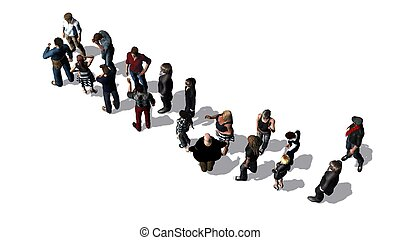 People waiting in line - top view isolated on white...