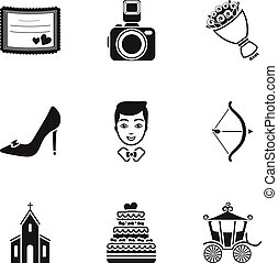 Weeding set icons in black style. Big collection of wedding vector symbol stock illustration