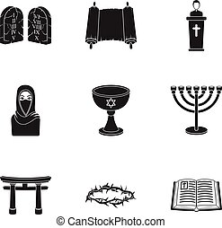 Religion set icons in black style. Big collection of religion vector symbol stock illustration