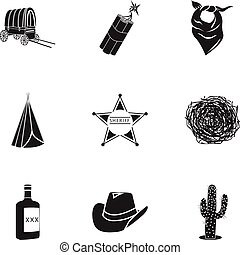 Wild west set icons in black style. Big collection of wild...