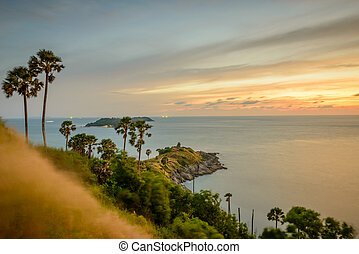 Promthep cape, the iconic place to see sunset at Phuket,...