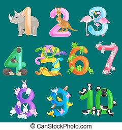 Set of ordinal numbers for teaching children counting with...