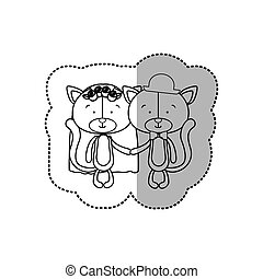 sticker monochrome with half shadow with couple cats just married