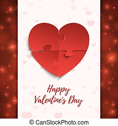 Happy Valentines Day, greeting card template. Jigsaw puzzle...