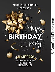 Happy Birthday invitation poster template. Luxury flyer with...