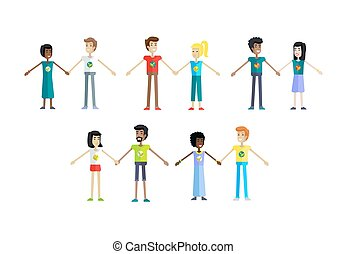 Set of Ecologist Human Characters Illustrations. - Smiling...