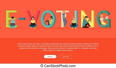 E-voting Concept Web Banner in Flat Design - E-voting...