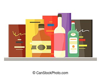 Drinks Alcohol Vector Concept in Flat Design. - Drinks...