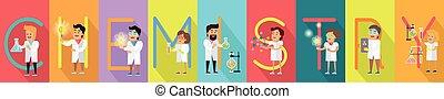 Ciencia, química, alfabeto, bandera