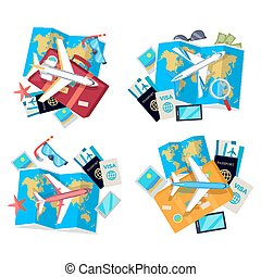 Collection of Four Travel Sets. Vector for Tourist -...