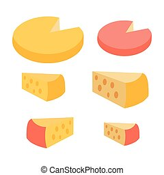 Set of Different Cheese Types. Varieties of Pieces