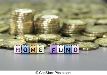 Home Loan ang gold coins - Home Loan text on colorful dice...