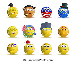 variety nation yellow smile icon avatar cartoon -...