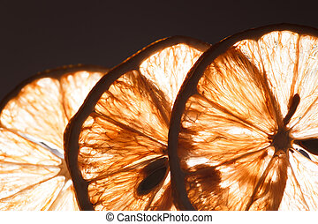 Slice lemon macro. Transparent texture Abstract background