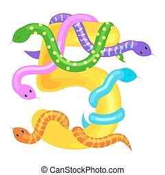 ordinal number five for teaching children counting snake...