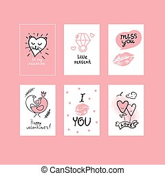 cards with valentines day - Set pink gritting cards with...