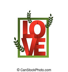Red word love, folded paper. Composition of letters. Banner...