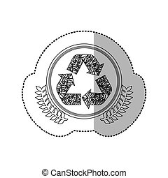 sticker monochrome with half shadow and recycling symbol in round frame with crown of leaves