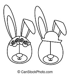 monochrome contour with faces couple of rabbits without eyes