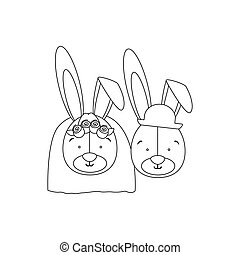 monochrome contour with faces couple of married rabbits
