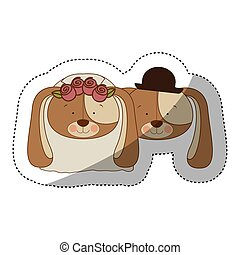 sticker colorful and half shadow with faces couple of married dogs